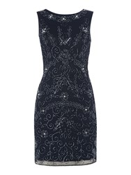 Lace And Beads Sleeveless Embellished Bodycon Dress Navy