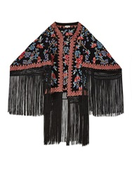 Talitha Zara Embroidered And Fringed Kimono