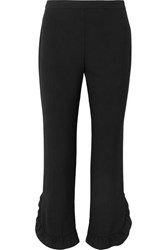 Prada Cropped Ruffled Crepe Straight Leg Pants Black