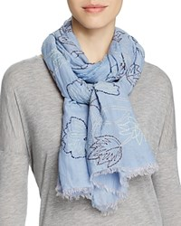 Altea Embroidered Leaves Scarf Blue
