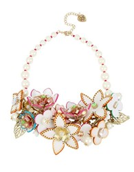 Betsey Johnson Faux Pearl Flower Statement Bib Necklace Gold