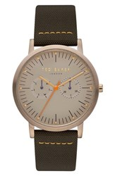 Ted Baker London Brit Multifunction Mixed Media Strap Watch 40Mm Light Brown Dark Green