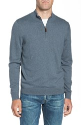 Nordstrom Big And Tall Shop Half Zip Cotton And Cashmere Pullover Blue Coronet