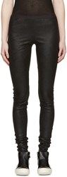 Rick Owens Black Leather Leggings