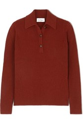 Salvatore Ferragamo Button Detailed Ribbed Wool And Cashmere Blend Sweater Burgundy