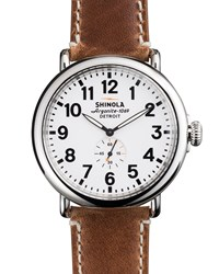 47Mm Runwell Men's Watch White Brown Shinola