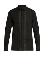Lanvin Button Cuff Stitched Front Cotton Poplin Shirt Black