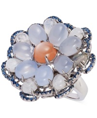 Carlo Viani Orange Garnet Chalcedony Moonstone And Sapphire Flower Ring In Sterling Silver 20 3 4 Ct. T.W