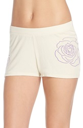 Junk Food Rose Graphic Hacci Lounge Shorts Eggshell Rose