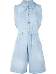 Maison Martin Margiela Mm6 Maison Margiela Sleeveless Denim Playsuit Blue