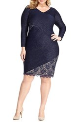 London Times Plus Size Women's Metallic Sheath Dress