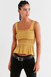 Urban Outfitters Uo Smocked Square Neck Cami Yellow