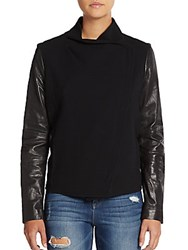 Vince Leather Sleeve Wool Jacket Black