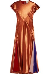 Roksanda Ilincic Theile Crepe De Chine Paneled Satin Midi Dress Copper