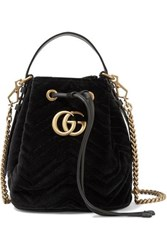 Gucci Gg Marmont Leather Trimmed Quilted Velvet Bucket Bag Black