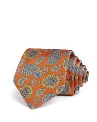Turnbull And Asser Floating Paisley Classic Tie Orange