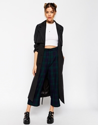 Asos Reclaimed Vintage Wide Leg Cullottes In Dark Check