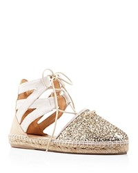 Charles David Sunshine Glitter Lace Up Espadrille Flats Gold