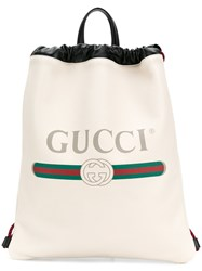 Gucci Logo Print Drawstring Backpack White
