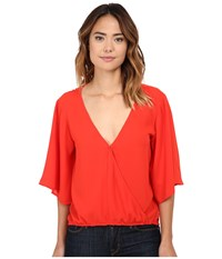 Bb Dakota River Crepe De Chine Flowy Tee Blaze Women's Blouse Orange