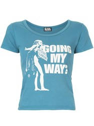 Hysteric Glamour Going My Way Print T Shirt Blue