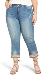Democracy Plus Size Women's Embroidered Hem Crop Jeans