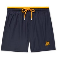 Vilebrequin Mokami Mid Length Embroidered Swim Shorts Navy