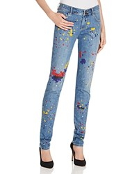 Alice Olivia Joana Splatter Paint Skinny Jeans In Denim Multi Denim Multi