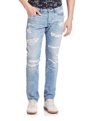 3X1 M5 Low Rise Selvedge Distressed Jeans Montecristo Sky Blue