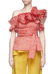 Rosie Assoulin 'Bearded Iris' Ruffle Gingham Check One Shoulder Top Red