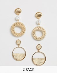 New Look 2 Pack Raffia And Shell Earrings In Gold