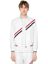 Thom Browne Zip Up Nylon Track Jacket W Stripes White