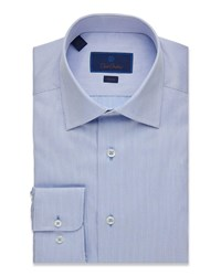 David Donahue Slim Fit Stripes Dress Shirt Blue