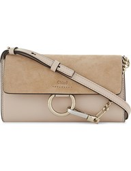 Chloe Faye Suede Wallet On Chain Cement Pink