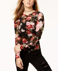 Material Girl Juniors' Ruched Rose Print Mesh Top Created For Macy's Caviar Black Combo