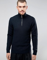 Kiomi Knitted Jumper With Zip Neck Navy