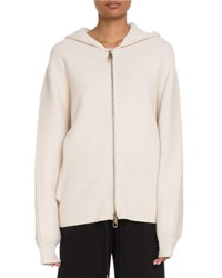Chloe Chunky Cashmere Zip Front Hooded Sweater White