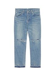 Sacai Let Out Cuff Ripped Jeans Blue