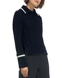 Whistles Point Collar Cable Knit Wool Sweater Navy