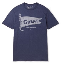 Hartford Printed Cotton T Shirt Blue