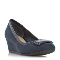 Linea Arla Brooch Detail Wedge Court Shoes Navy