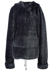 Puma Fur Effect Hooded Coat Grey