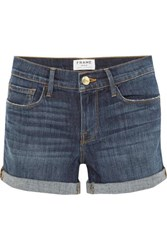 Frame Le Cutoff Denim Shorts Dark Denim