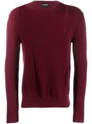 Les Hommes Distressed Detail Jumper Red