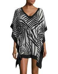 Calvin Klein Kimono Sleeved Asymmetrical Coverup Black White