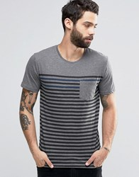 Only And Sons T Shirt With Fine Breton Stripe Dress Blue Grey