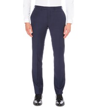 Sandro Notch Flannel Tapered Wool Trousers Blue Green