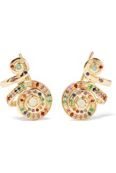 Venyx Moonshell 18 Karat Gold Multi Stone Earrings
