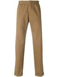 Msgm Fitted Chino Trousers Cotton Brown