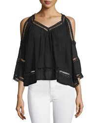 Rebecca Minkoff Deneuve Cold Shoulder Top Black